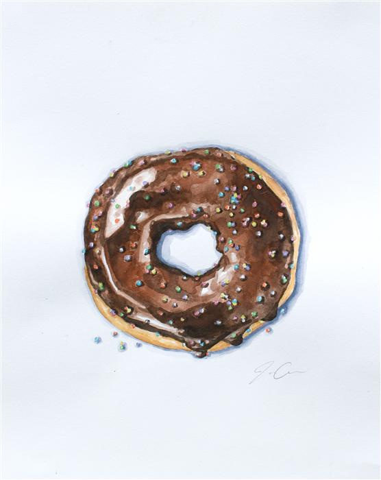 Discover Original Art by Jackie Graham | Donut Bother Me II watercolor painting | Art for Sale Online at UGallery