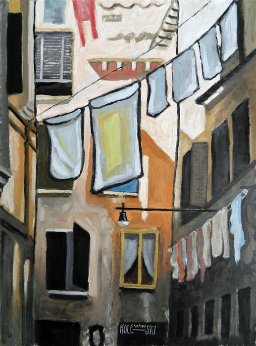 Discover Original Art by Robert  Holewinski | Wash Day in Venice oil painting | Art for Sale Online at UGallery