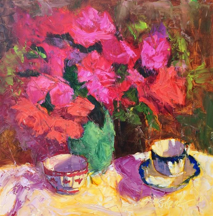 Discover Original Art by Roxanne Steed | Roses and Red Bowl oil painting | Art for Sale Online at UGallery