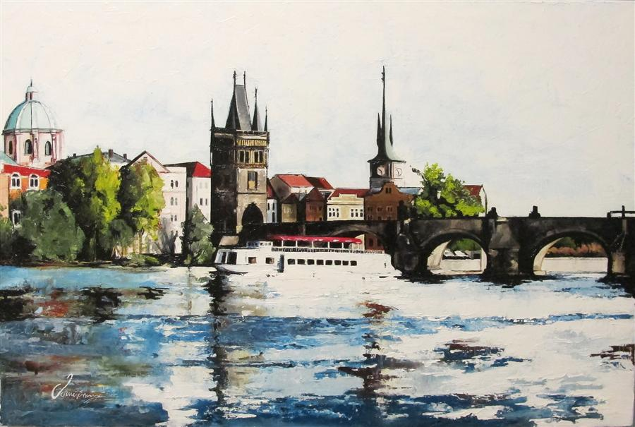 Discover Original Art by Nedim Omercausevic | River Prague oil painting | Art for Sale Online at UGallery