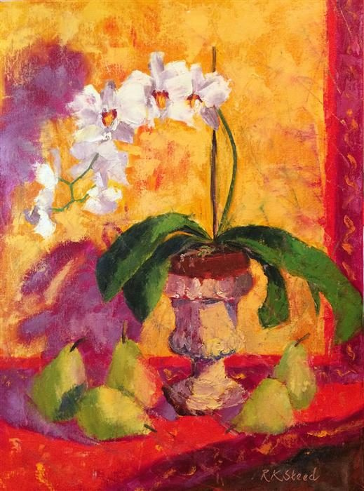Discover Original Art by Roxanne Steed | Provencal Pears and Orchids oil painting | Art for Sale Online at UGallery
