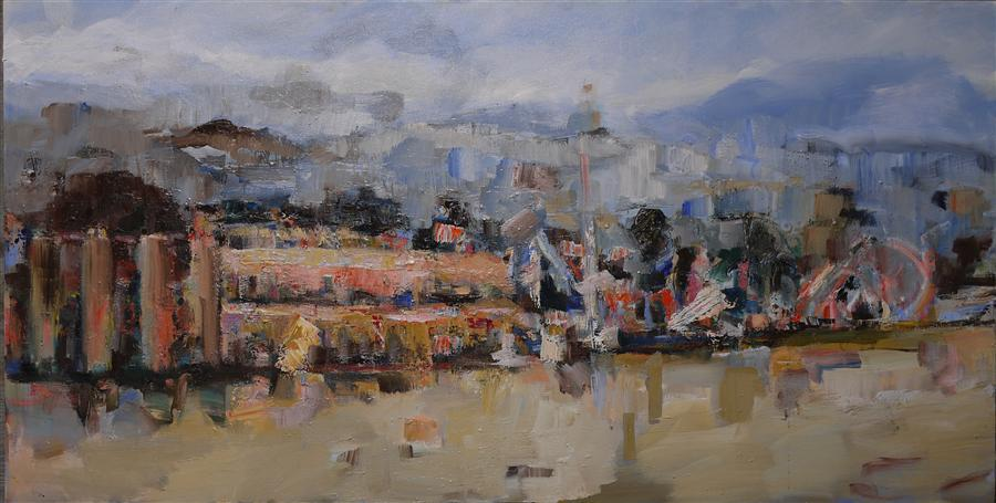 Discover Original Art by Michele Giulvezan-Tanner | Santa Cruz Boardwalk oil painting | Art for Sale Online at UGallery