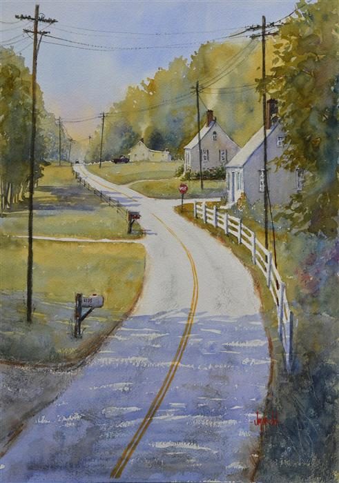 Discover Original Art by Judy Mudd | Country Road Take Me Home watercolor painting | Art for Sale Online at UGallery