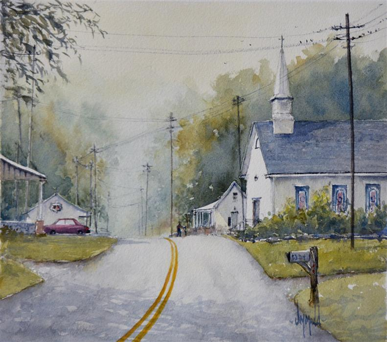 Discover Original Art by Judy Mudd | Take Me to Church watercolor painting | Art for Sale Online at UGallery