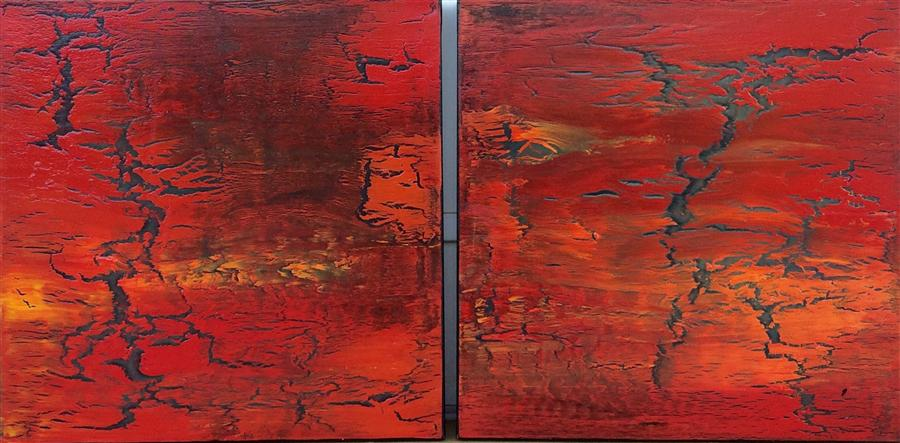 Discover Original Art by Alicia Dunn | Diptych: When Soul Meets Fire acrylic painting | Art for Sale Online at UGallery