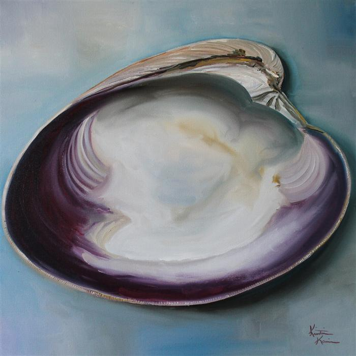 Discover Original Art by Kristine Kainer | Atlantic Clam Shell oil painting | Art for Sale Online at UGallery