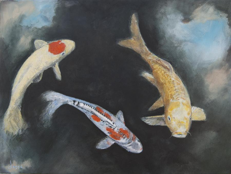 Discover Original Art by Anne Dosso-Powell | Koi Pond with Sky Lights oil painting | Art for Sale Online at UGallery