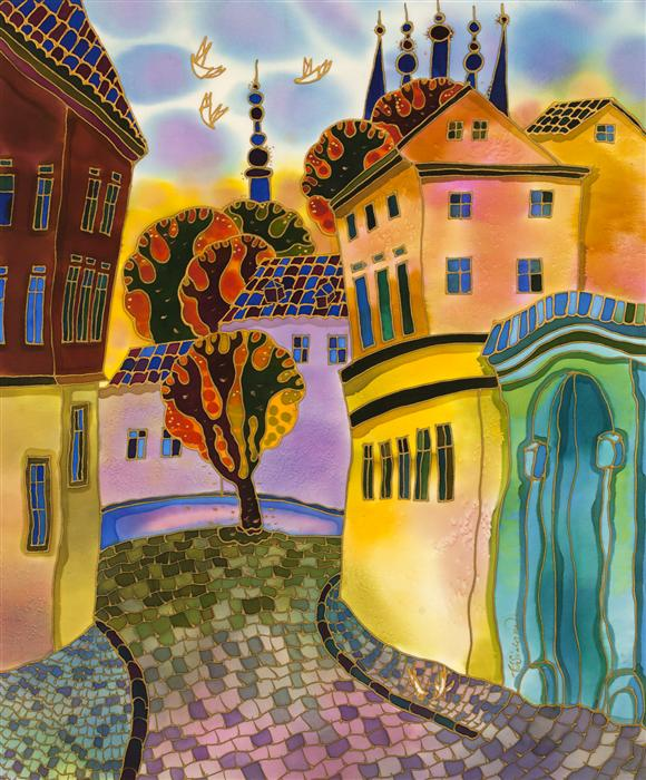 Discover Original Art by Yelena Sidorova | Small Street, Prague mixed media artwork | Art for Sale Online at UGallery
