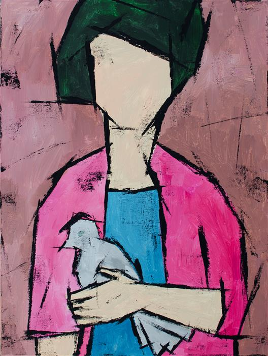 Discover Original Art by Tanya Grabkova | Girl with Pigeon acrylic painting | Art for Sale Online at UGallery