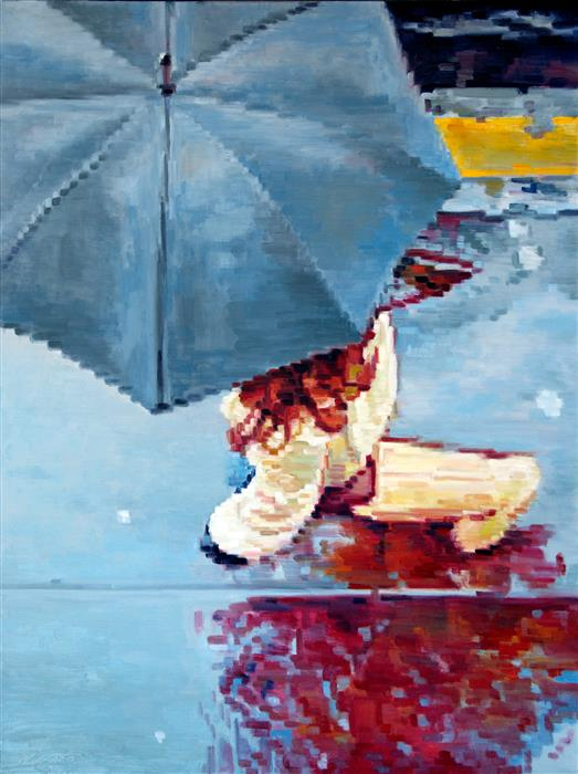 Discover Original Art by Warren Keating | Woman under Umbrella Running in Paris Rain oil painting | Art for Sale Online at UGallery
