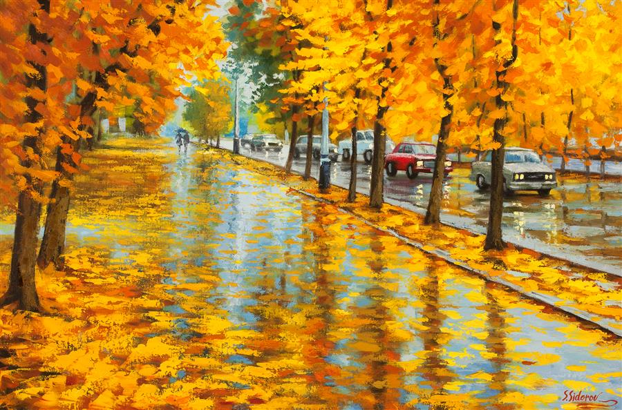 Discover Original Art by Stanislav Sidorov | Damp Autumn Day oil painting | Art for Sale Online at UGallery
