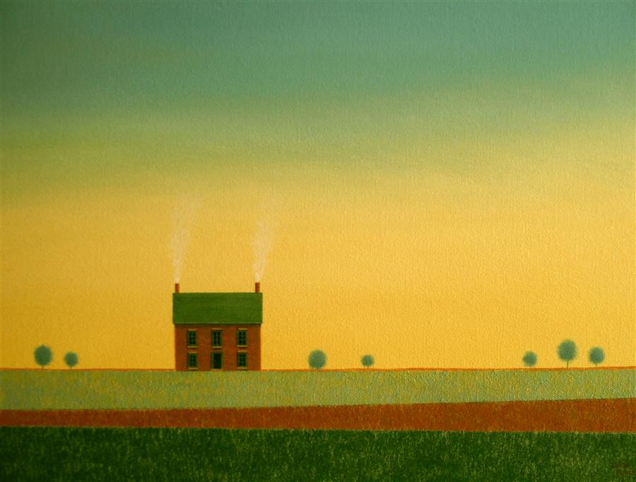 Discover Original Art by Sharon  France | Old Farmhouse and Abstracted Fields acrylic painting | Art for Sale Online at UGallery