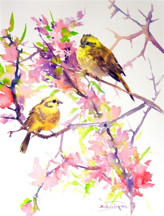 Discover Original Art by Suren Nersisyan | Yellowhammers and Spring Blossom watercolor painting | Art for Sale Online at UGallery