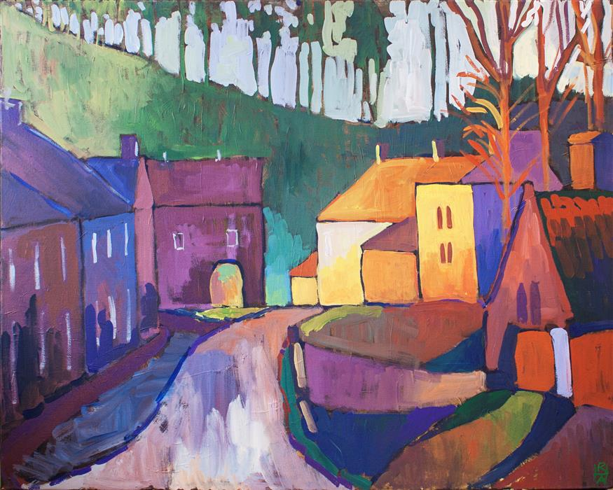 Discover Original Art by Robert Hofherr | Ancient Market Town acrylic painting | Art for Sale Online at UGallery