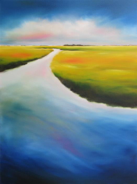 Discover Original Art by Nancy Hughes Miller | Inlet Marshscape oil painting | Art for Sale Online at UGallery