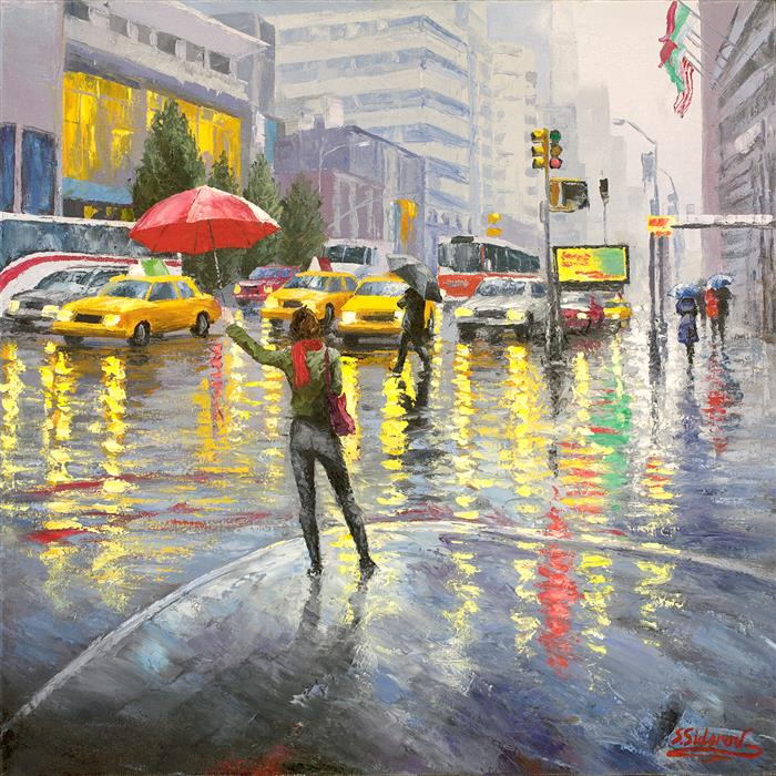Discover Original Art by Stanislav Sidorov | Busy New York Street oil painting | Art for Sale Online at UGallery