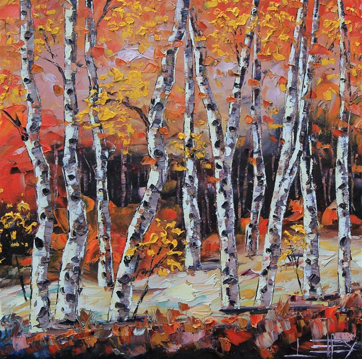 Discover Original Art by Lisa Elley | Benevolent Birch oil painting | Art for Sale Online at UGallery