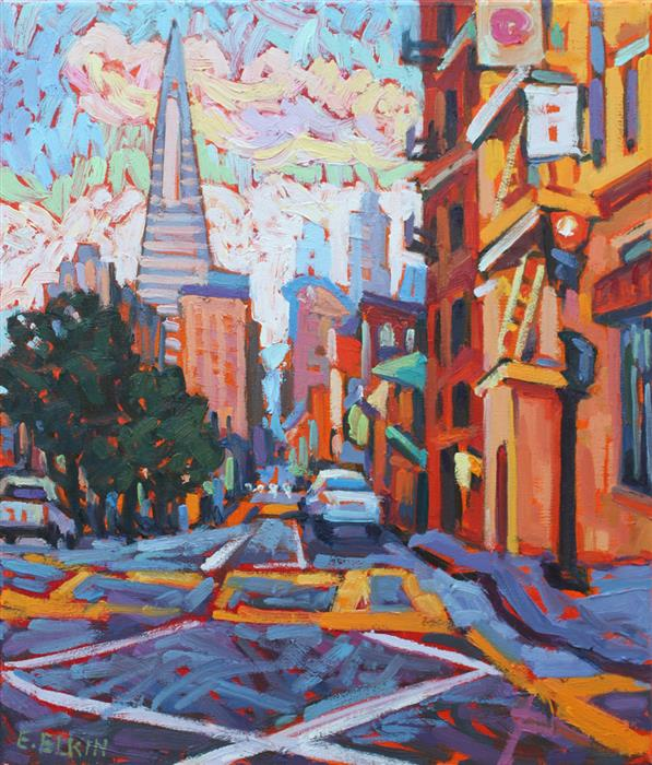 Discover Original Art by Elizabeth Elkin | In San Francisco oil painting | Art for Sale Online at UGallery