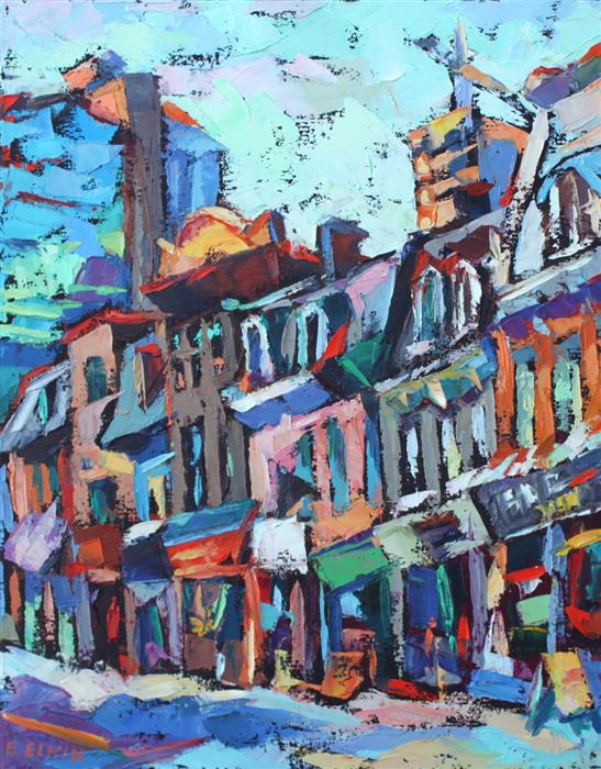 Discover Original Art by Elizabeth Elkin | Toronto Street oil painting | Art for Sale Online at UGallery