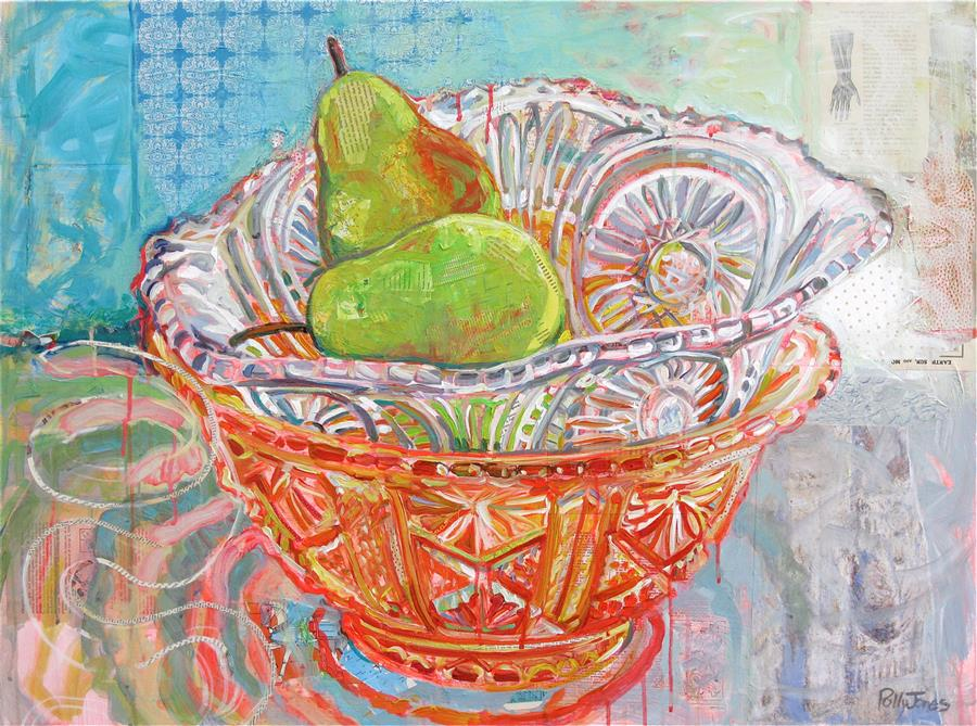 Discover Original Art by Polly Jones | Still Life with Glass Snake mixed media artwork | Art for Sale Online at UGallery