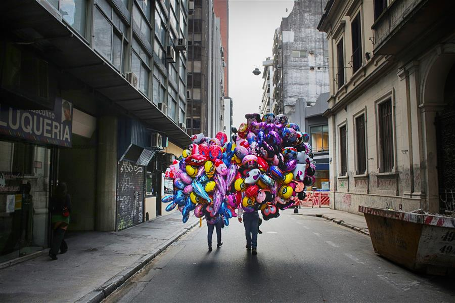 Original art for sale at UGallery.com | Sellers of Balloons by MARIA PLOTNIKOVA | $145 |  | ' h x ' w | \art\photography-Sellers-of-Balloons