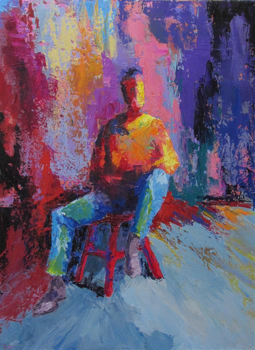Discover Original Art by Weldon Ball | Man on a Red Stool oil painting | Art for Sale Online at UGallery