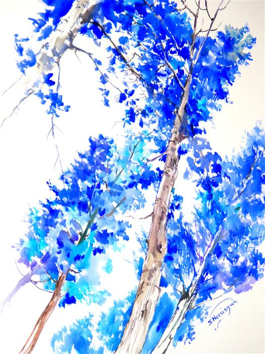 Discover Original Art by Suren Nersisyan | Blue Poplars (Vertical) watercolor painting | Art for Sale Online at UGallery
