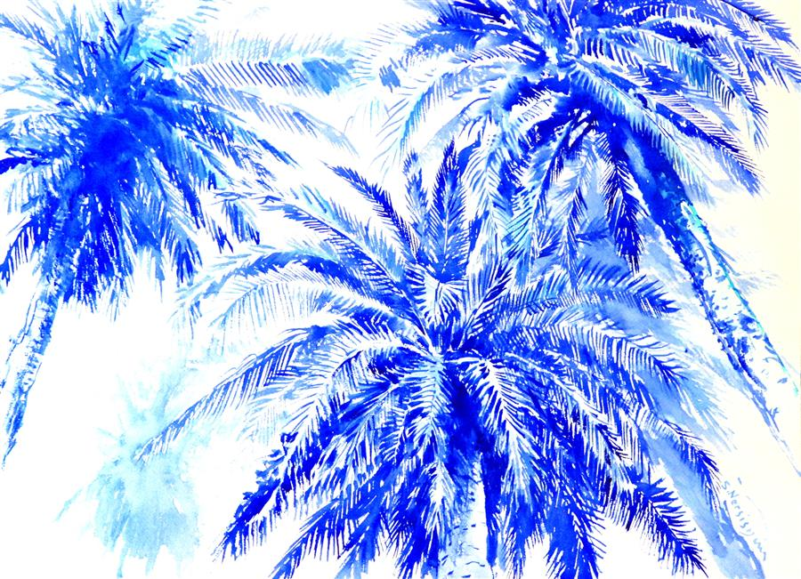 Discover Original Art by Suren Nersisyan | Under Palm Trees (Ultramarine Blue Shades) watercolor painting | Art for Sale Online at UGallery