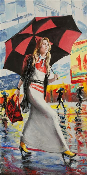 Discover Original Art by Stanislav Sidorov | Girl with Checkered Umbrella oil painting | Art for Sale Online at UGallery