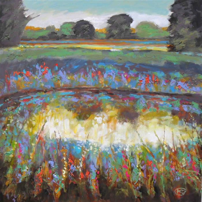 Discover Original Art by Kip Decker | Summer Pond with Flowers acrylic painting | Art for Sale Online at UGallery