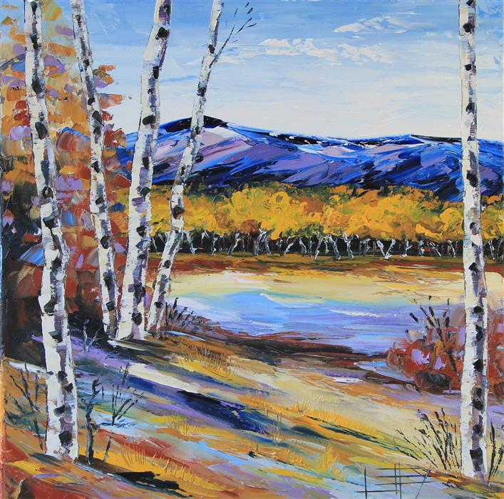 Discover Original Art by Lisa Elley | Beautiful Birch oil painting | Art for Sale Online at UGallery