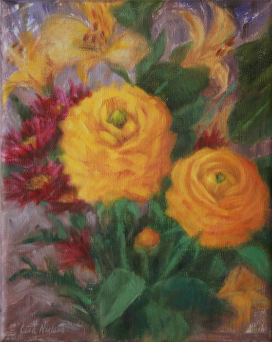 Discover Original Art by Lisa Nielsen | Sunshine Blooms oil painting | Art for Sale Online at UGallery