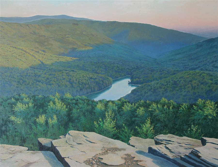Discover Original Art by Stefan Conka | Mountain Lake oil painting | Art for Sale Online at UGallery