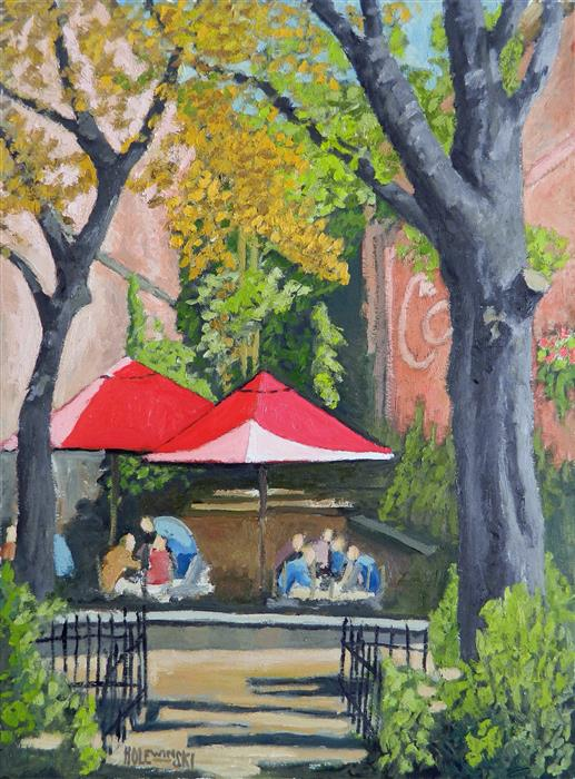 Discover Original Art by Robert  Holewinski | Winter Garden Cafe oil painting | Art for Sale Online at UGallery