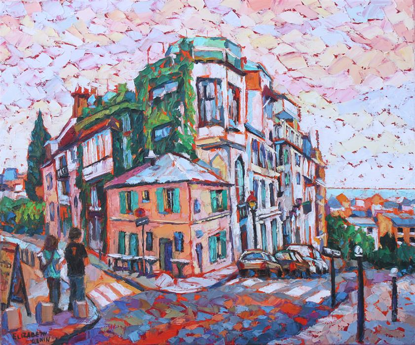 Discover Original Art by Elizabeth Elkin | Cafe in Montmartre oil painting | Art for Sale Online at UGallery