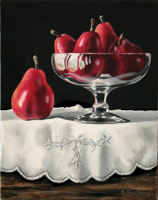 Discover Original Art by Susan Sjoberg | Red Pears in Glass Bowl acrylic painting | Art for Sale Online at UGallery