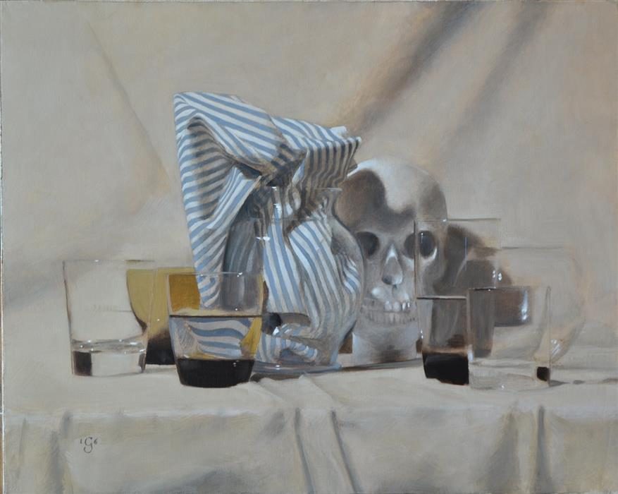 Discover Original Art by Christopher Garvey | Vanitas with Stripes oil painting | Art for Sale Online at UGallery