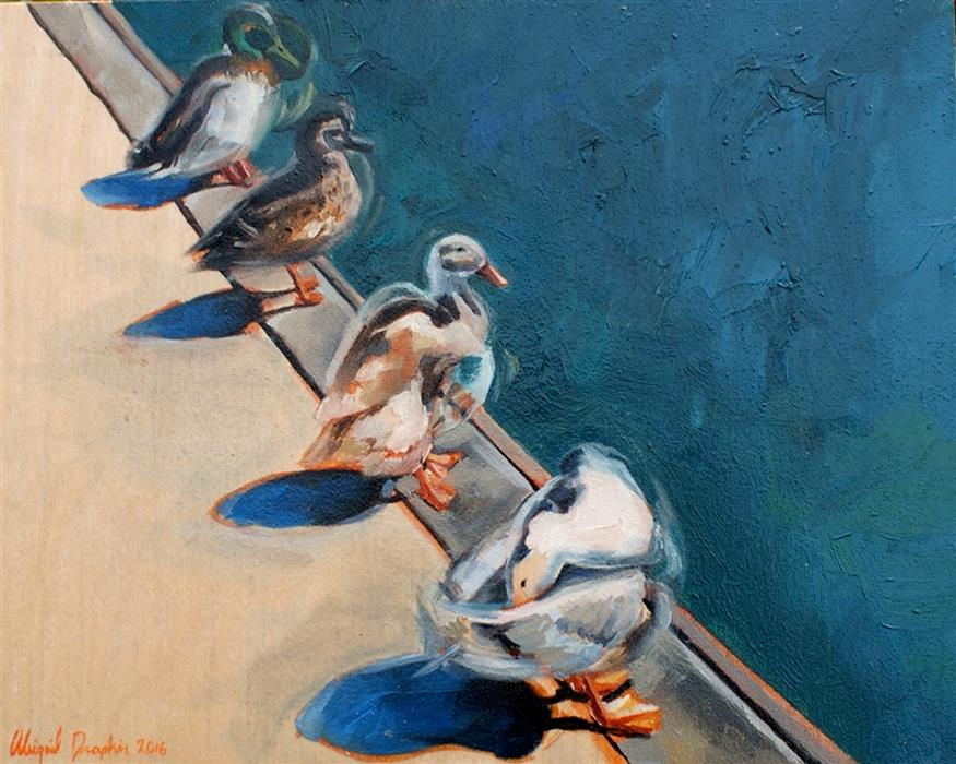 Discover Original Art by Abigail Drapkin | Ducks in a Row oil painting | Art for Sale Online at UGallery