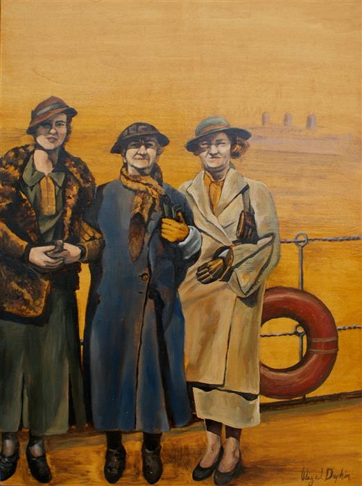 Discover Original Art by Abigail Drapkin | The Three Travelers oil painting | Art for Sale Online at UGallery
