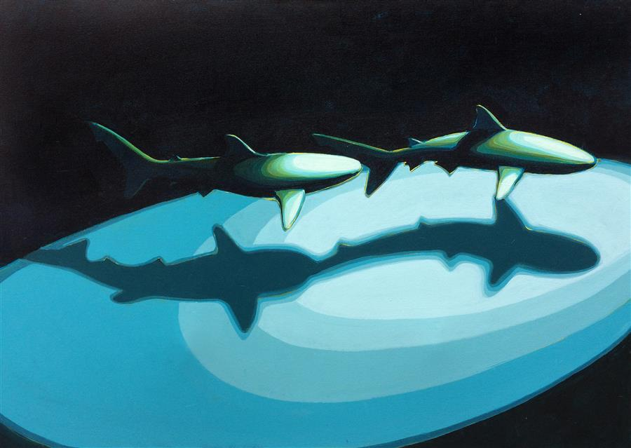 Discover Original Art by David Showalter | Shark Pair 2 acrylic painting | Art for Sale Online at UGallery