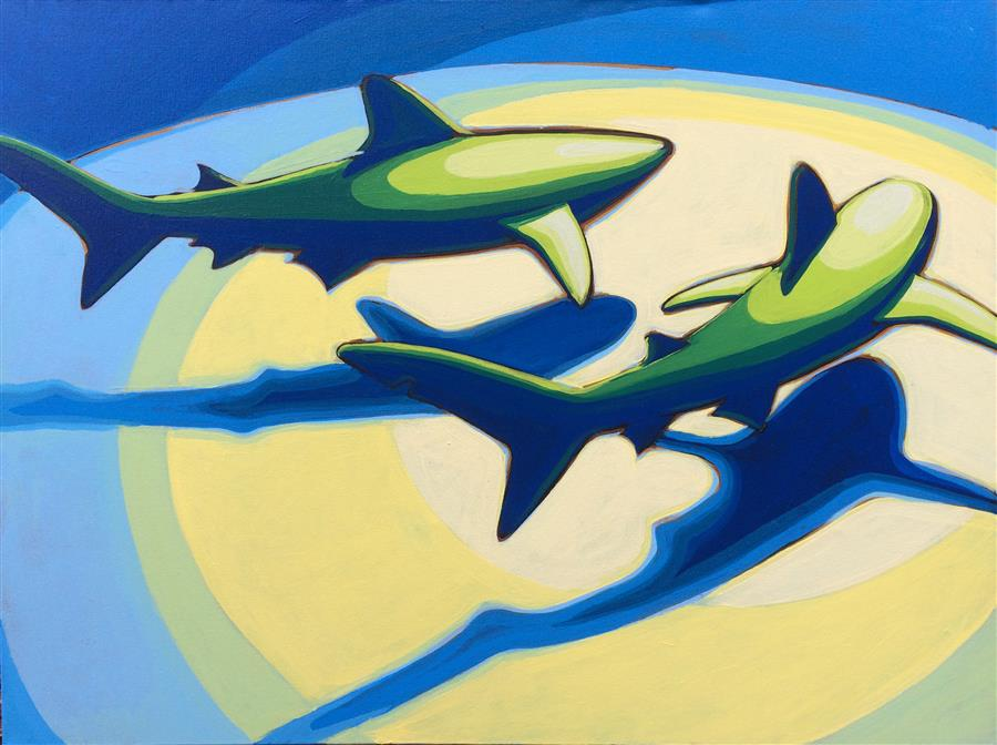 Discover Original Art by David Showalter | Shark Pair 3 acrylic painting | Art for Sale Online at UGallery