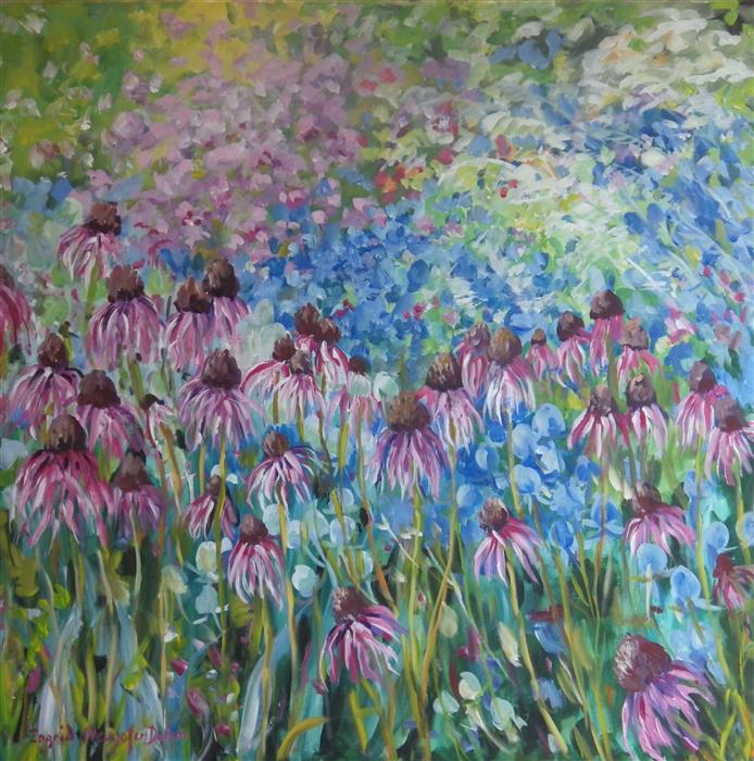 Discover Original Art by Ingrid Dohm | Coneflowers acrylic painting | Art for Sale Online at UGallery