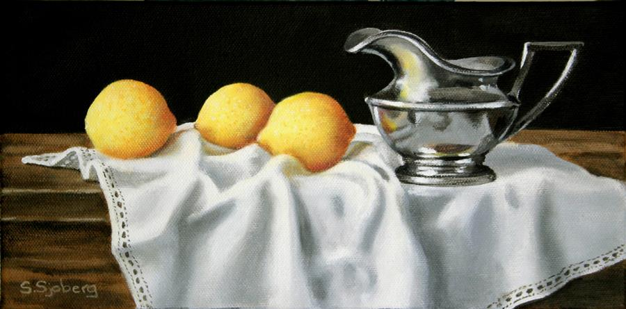 Discover Original Art by Susan Sjoberg | Lemons and Silver acrylic painting | Art for Sale Online at UGallery