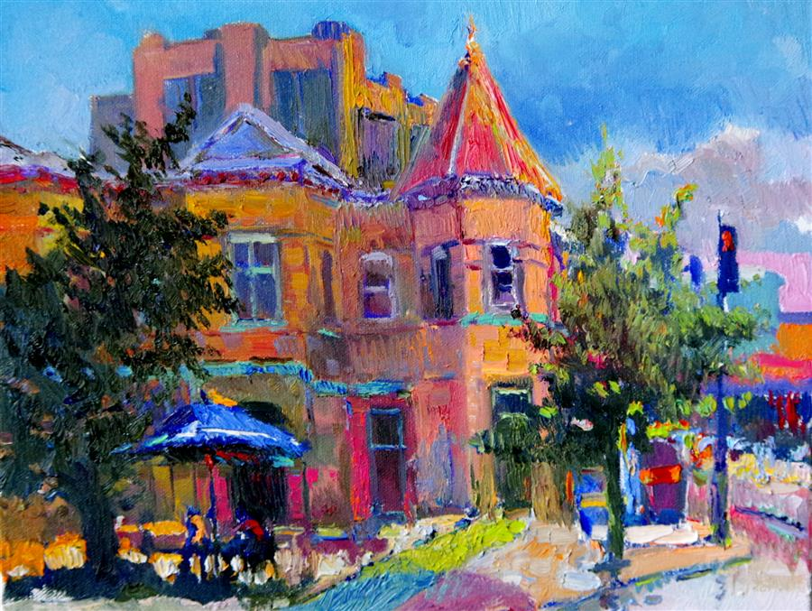 Discover Original Art by Suren Nersisyan | Street in Washington DC oil painting | Art for Sale Online at UGallery
