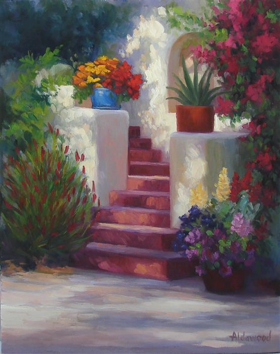 Discover Original Art by Sherri Aldawood | Garden Staircase oil painting | Art for Sale Online at UGallery