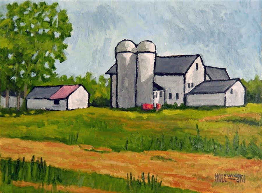 Discover Original Art by Robert  Holewinski | Farm in Colts Neck oil painting | Art for Sale Online at UGallery