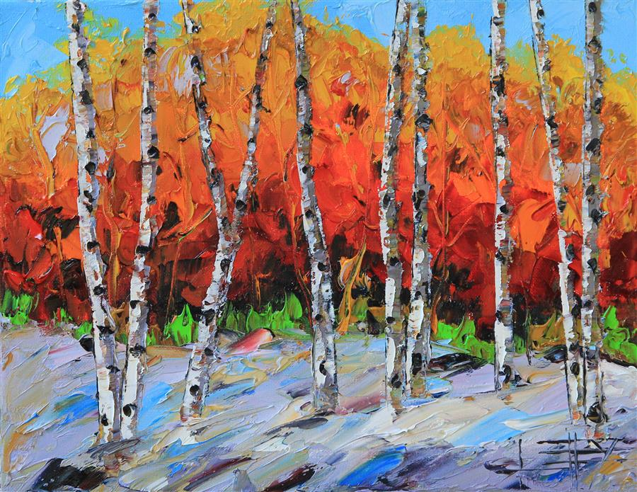 Discover Original Art by Lisa Elley | Fiery Birch oil painting | Art for Sale Online at UGallery