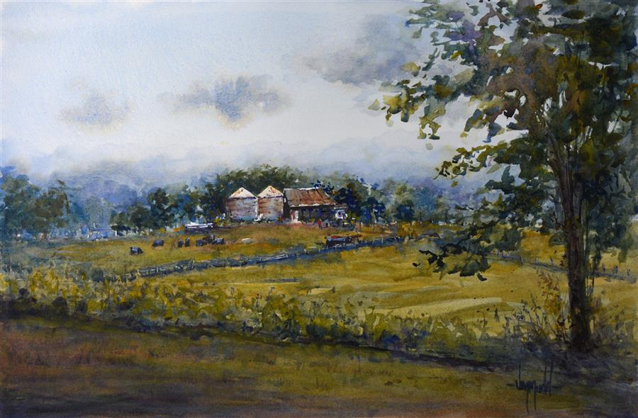 Discover Original Art by Judy Mudd | Kentucky Farm watercolor painting | Art for Sale Online at UGallery