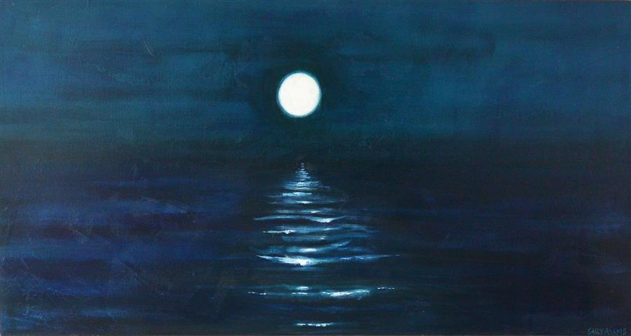 Image result for moon reflection painting