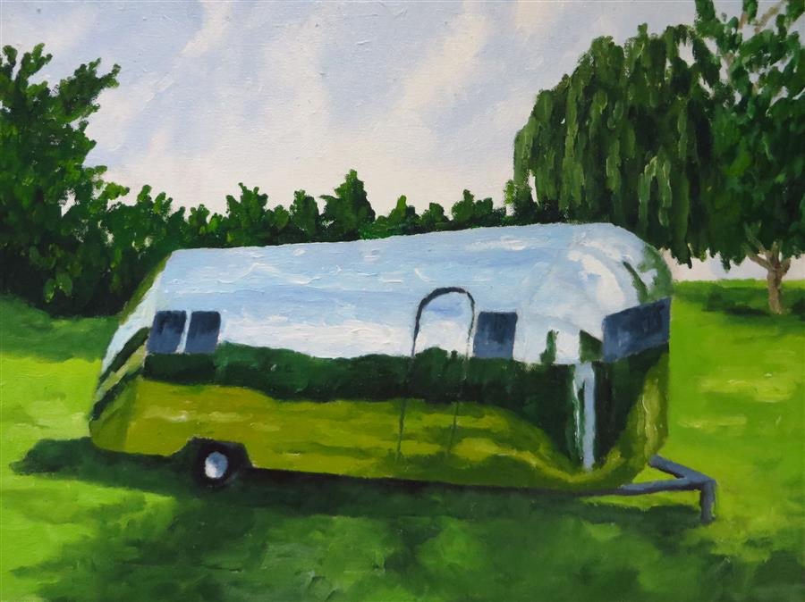 Discover Original Art by Mitchell Freifeld | Airstream 3 oil painting | Art for Sale Online at UGallery